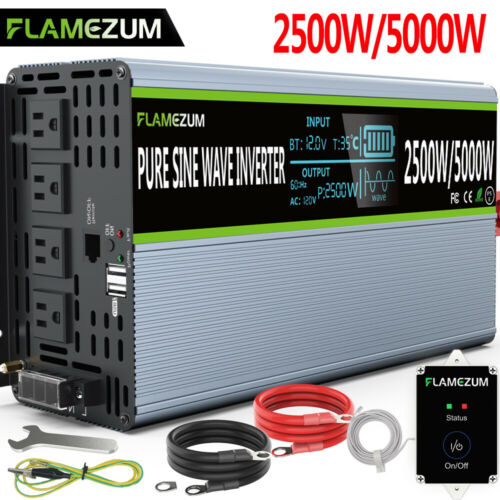 Solar Power Inverter Pure Sine Wave 2500W 5000W DC 12V To 120V AC Converter LCD