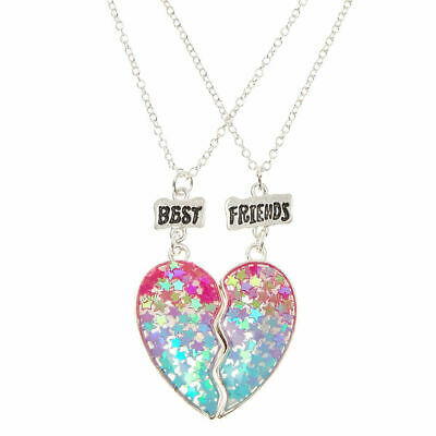 Claire's Girl's Best Friend Ombre Star Glitter Split Heart Necklaces