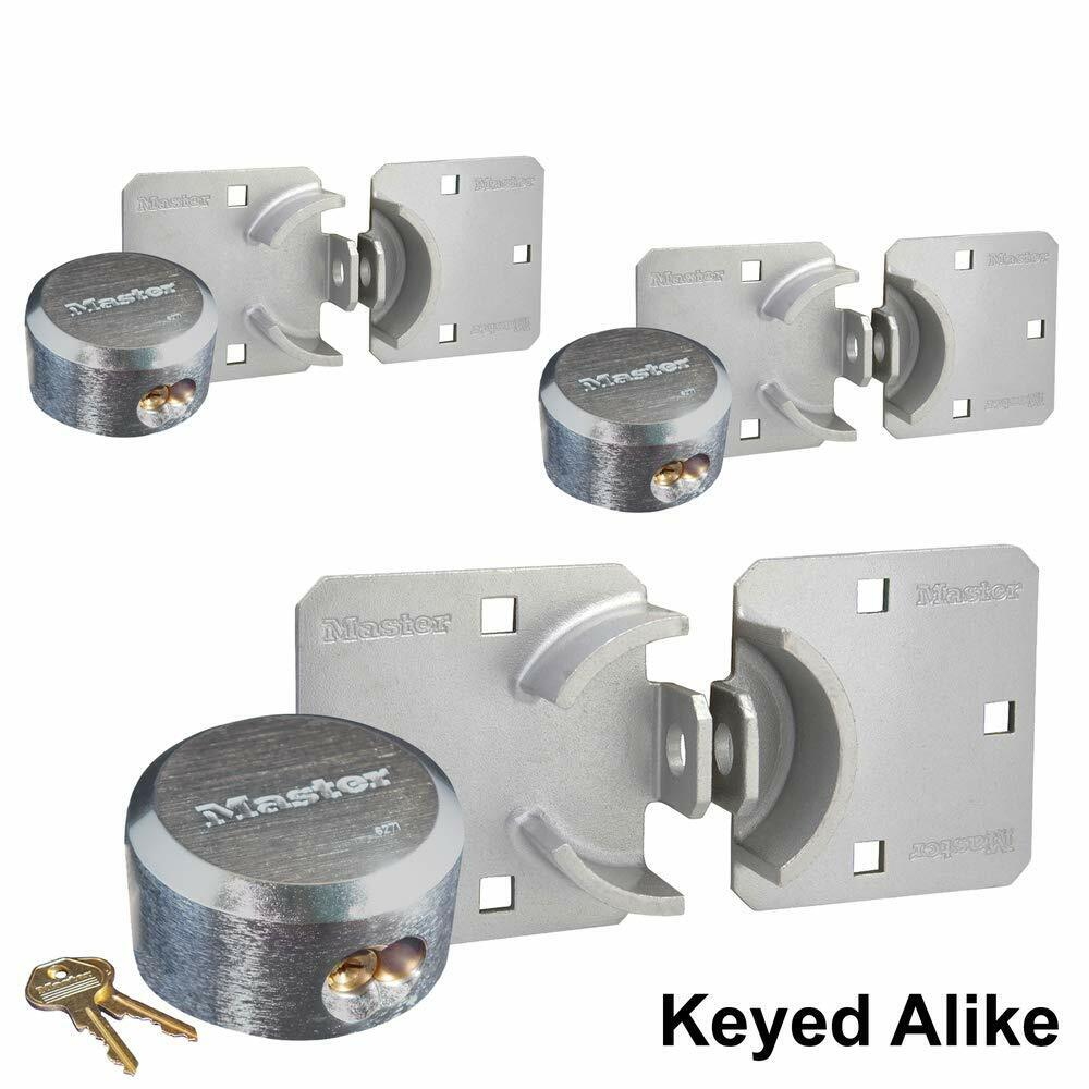 Master Lock - (3) Keyed Alike Hidden Shackle Padlock / Hasp Combo 770-6271KA-3