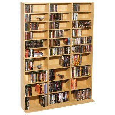 Multimedia Wall Cabinet - DVD CD Multimedia Wall Storage Unit Adjustable Cabinet Rack Shelves Maple