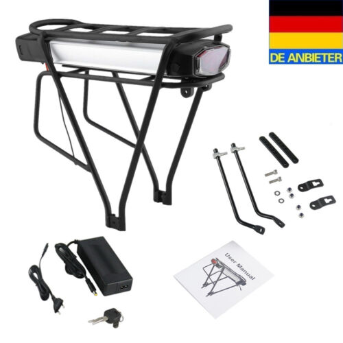 Fahrrad Ebike E-Bike Akku 36V 13Ah mit Ladegerät und Gepäckträger für Pedelec DE