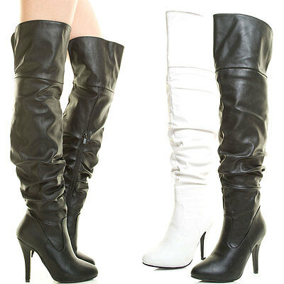 Womens Stiletto Heel Over The Knee Thigh High Boot Slouch Foldable Closed Toe (Womens High Stiletto Heel)