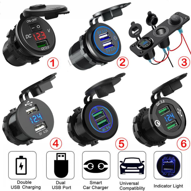 12V Car Cigarette Lighter Socket Dual USB Port Charger Power Outlet LED Display