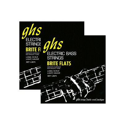2-Pack GHS L3075 Brite Flats Flatwound Light Electric Bass Strings (45-98)