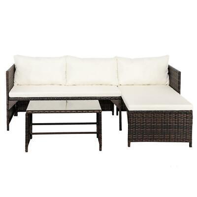 Garden Furniture - 3Pcs Patio Furniture Rattan Sofa Set Garden Outdoor Yard Outdoor 4 Slections US