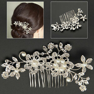 New Bridal Wedding Cryatsl Flower Pearls Hair Comb Clip Diamante Rhinestone
