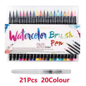 20 Colors Art Oil Watercolor Drawing Painting Brush Sketch Manga Pen Set UK