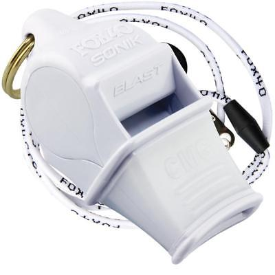 WHITE Fox 40 SONIK BLAST CMG Whistle Official Coach Safety Rescue - FREE LANYARD