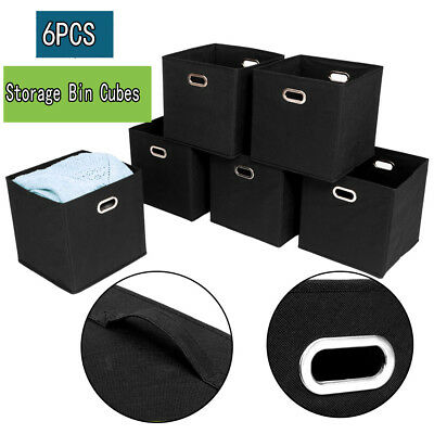 Set of 6 Cloth Storage Bins Cubes Baskets Containers Black USA