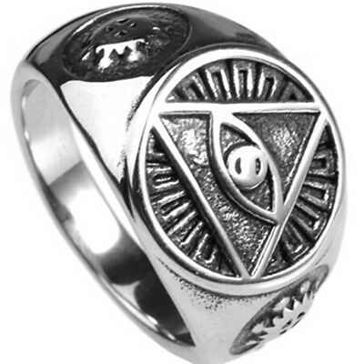 Illuminati  All Seeing Eye Of God Ring Signet Biker Size 7 15 Halloween Party