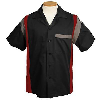 Jersey Side Bowling Shirt - Black/Red/Grey HILTON STYLE BROOKLYN RETRO CLASSIC