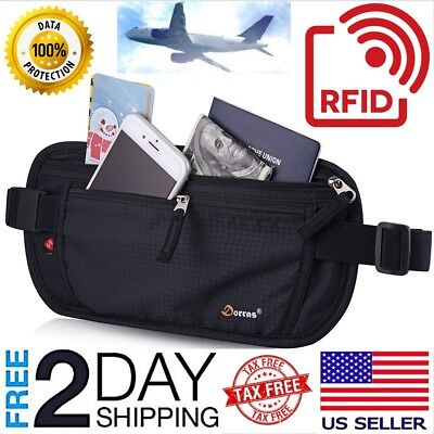Travel Money Belt Wallet Hidden Under Clothes Waist Pouch Secure Purse Holder