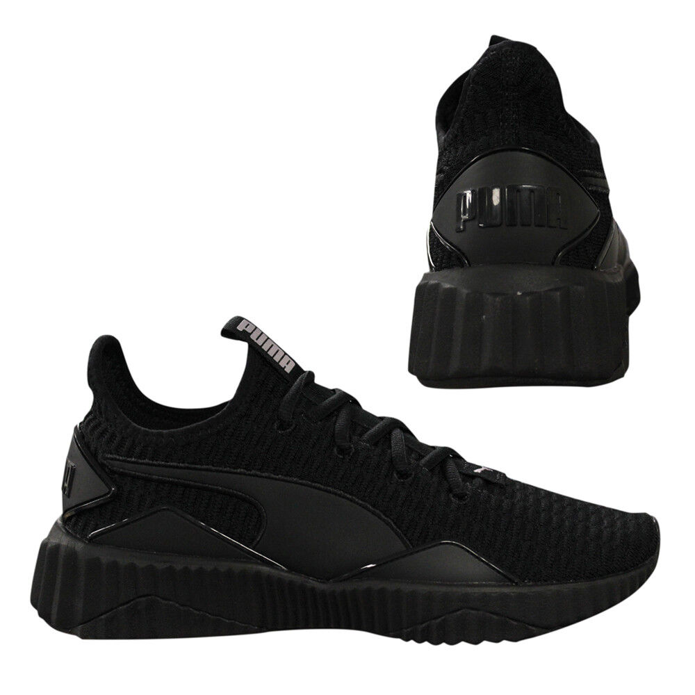 26f44763c4 Details about Puma Defy Womens Trainers Slip On Lace Up Running Shoes Black  190949 10 Q3