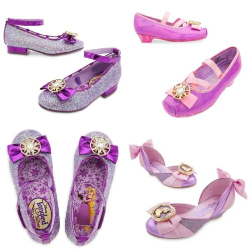 Disney Store Rapunzel Costume Sparkle Shoes Dress Up Tangled Glitter Bow Ballet