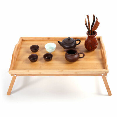 1pc Bamboo Wood Bed Tray Breakfast Laptop Desk Tea Serving Table Stand Dinner