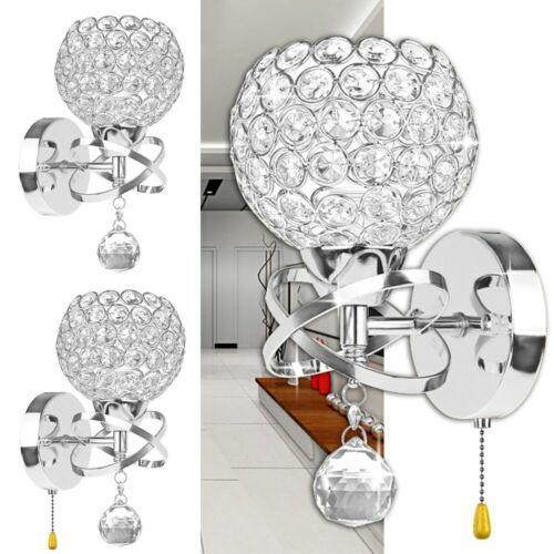 Crystal Wall Sconce Lamp LED Modern Light Bulb Bathroom Hall
