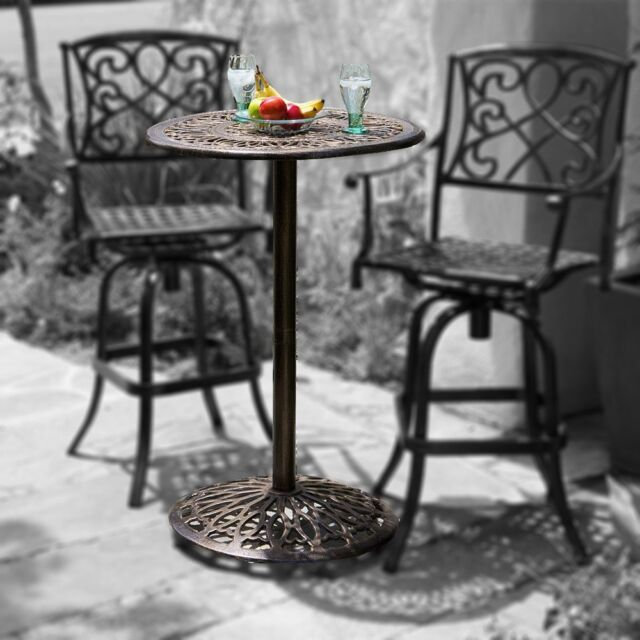 Outdoor Patio Furniture Paris Cast Aluminum Bar Height Bistro Table