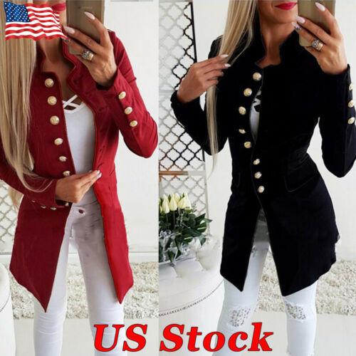 US Women Long Jacket Thin Overcoat Outwear Slim Double Breasted Blazer Suit Coat