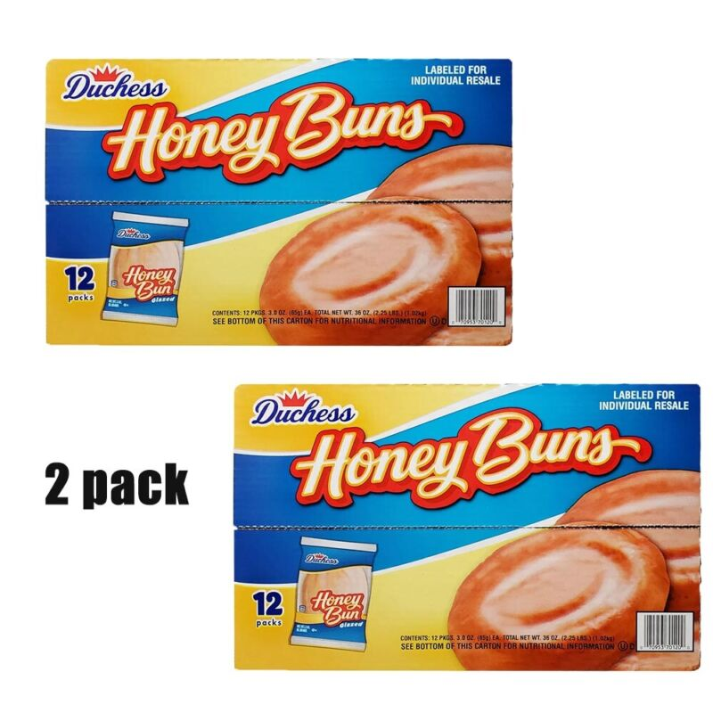 2 PACK Duchess Honey Buns (3oz / 12pk) yummy NEW