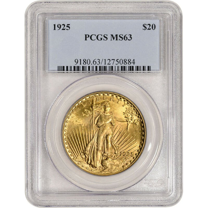 1925 US Gold $20 Saint-Gaudens Double Eagle - PCGS MS63