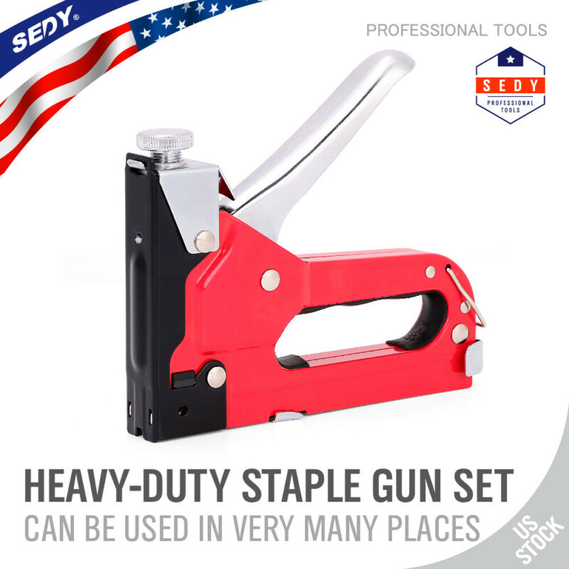 Heavy Duty 3 in 1 Hand Staple Gun Tacker Chromed with 600 Staples 3 Way