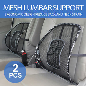 Black Mesh Lumbar Back Brace Support Cushion for Office Home Car Seat Chair 2X