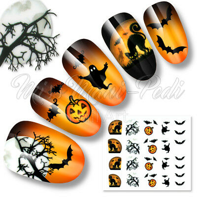 Nail Art Halloween Water Decals Transfers Stickers Moon Bats Cats Pumpkins K186