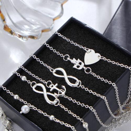 5Pcs/Set Heart Alloy Foot Chain Womens Summer Beach Anklet Bracelet Jewelry Sets