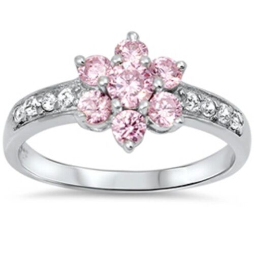 pink cz flower and cz 925 sterling