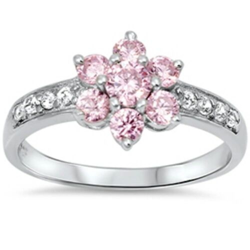 Pink Cz Flower & Cz  .925 Sterling Silver Ring Sizes 5-11