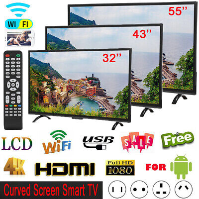 """32''/43""""/55'' 4K 1080P HD LED LCD Smart TV WIFI Ethernet Television For Android"""