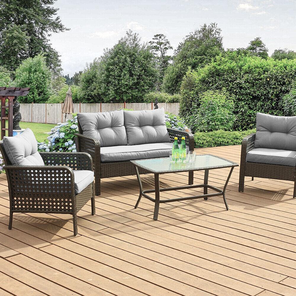 Garden Furniture - Patio Rattan Sofa Set 4 Pcs Wicker Garden Furniture Outdoor Sectional Couch Gray