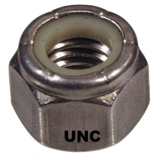"""Qty 1 Hex Nyloc Nut 1/2"""" UNC Imperial Stainless Steel SS 304 A2 70"""