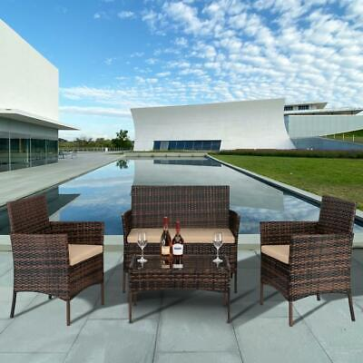 4PCS Patio Rattan Wicker Furniture Set Cushioned Chair Glass Table