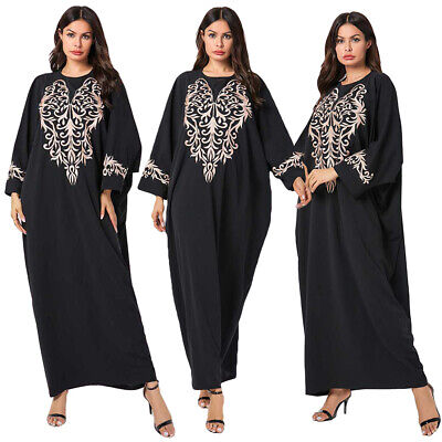 Ethnic Embroidery Kaftan Maxi Dress Vintage Women Muslim Abaya Long Robe Gown
