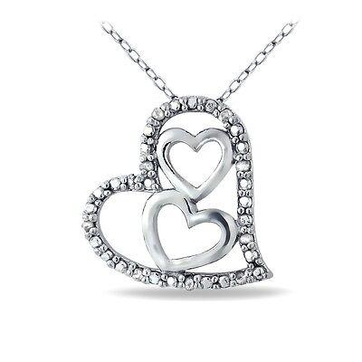 Sterling Silver 1/10ct Diamond Triple Heart Necklace