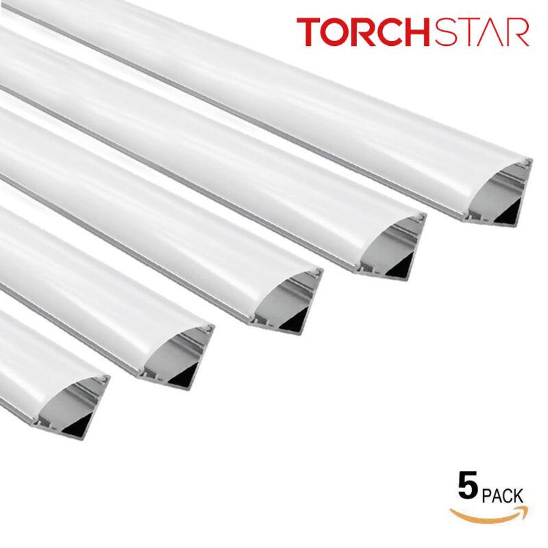 5PACK 3.3ft Aluminum V Channel for flex/hard LED Strip Light Arc-Shape Cover-V02