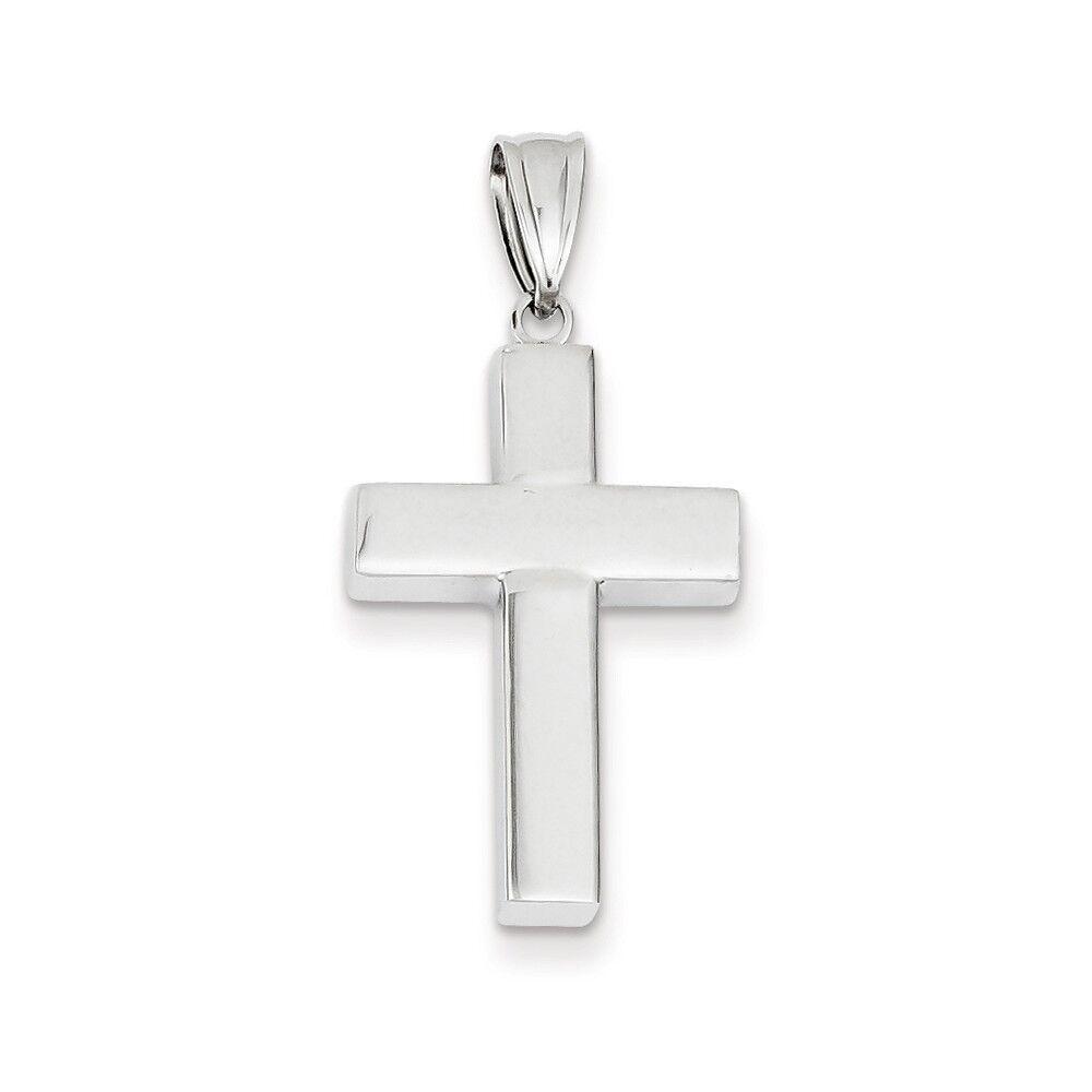 14K White Gold Hollow Cross Charm Pendant
