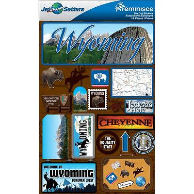 REMINISCE JET SETTERS WYOMING YELLOWSTONE TRAVEL VACATION 3D SCRAPBOOK STICKERS