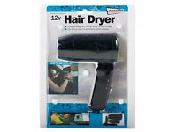 12V In Car Hair Dryer Compact Travelling Festival Camping Portable Caravan (S)