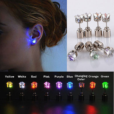1 Pair/2pcs Fashion Dance Party Accessories Light Up LED Bling Ear Studs Earring - Light Up Earrings