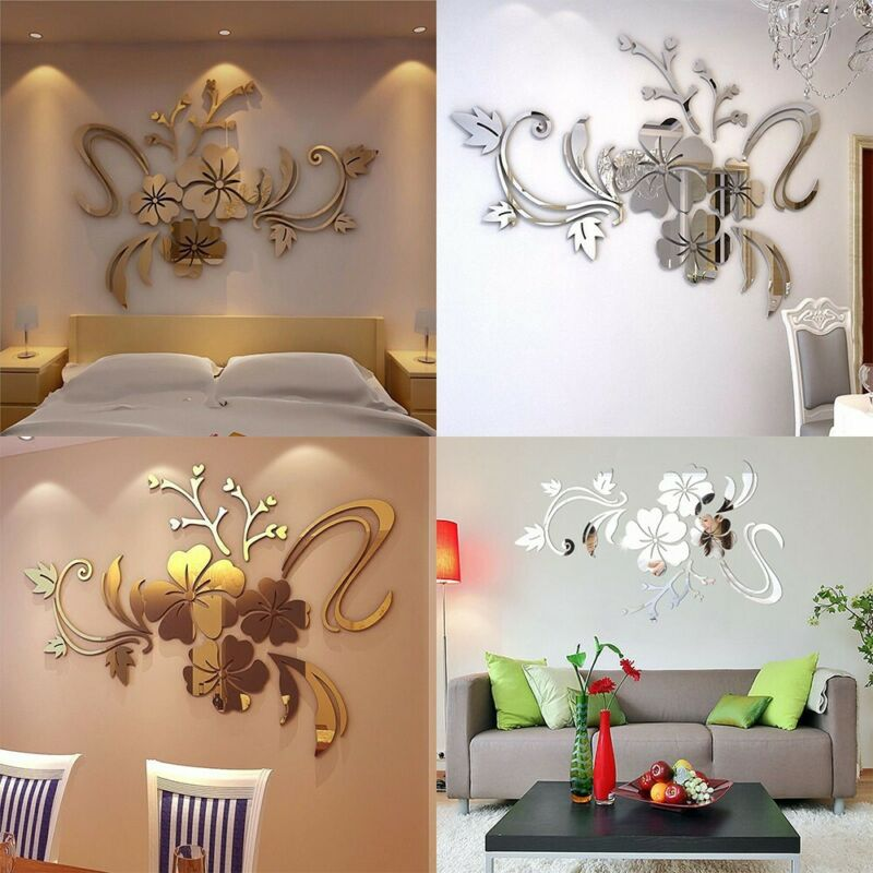 Home Decoration - 3D Mirror Floral Art Removable Wall Sticker Acrylic Mural Decal Home Room Decor
