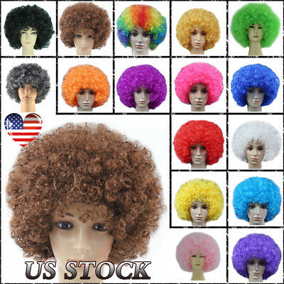 1-10 Pcs Halloween Clown Party Rainbow Afro Hair Football Fan Costume Curly Wigs (Wig Clown)