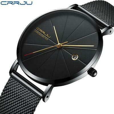 New CRRJU Chic and Minimalistic Style Business Mens Watches Ultra-thin Black Mes