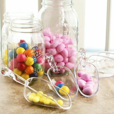 6pc Clear Acrylic Plastic Candy Scoops Sweets Candy Party Weddings Buffet Spoon (Wedding Buffet)