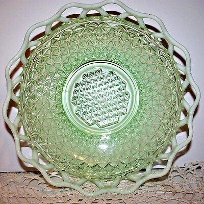 RARE Antique Vintage IMPERIAL OPALESCENT KATY GREEN Lattice Edge BOWL 9 1/2""