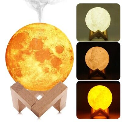 3D LED Moon Light Lamp 880ML Air Humidifier Ultrasonic Cool Mist Diffuser USB