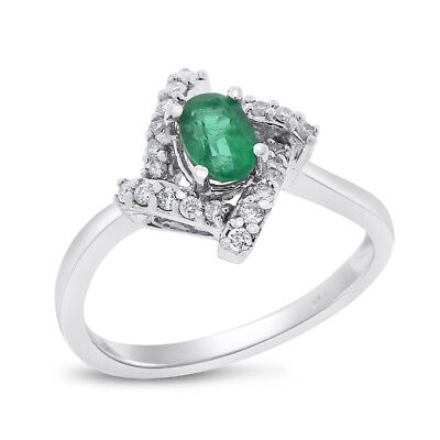 1.20 Ct. Natural Diamond & Green Emerald Fancy Twist Ring in Solid 14k White Gol