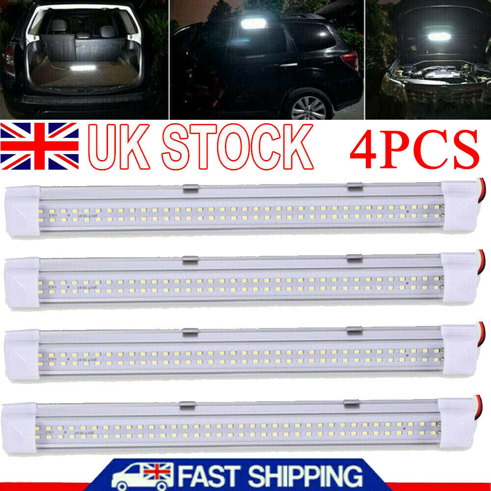 Car Parts - 4X 72LED 12V Interior Lights Strip Bar Car Van Bus Caravan 12 VOLT ON/OFF Switch