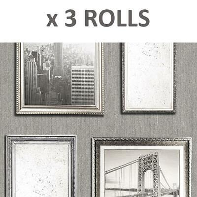 3 Rolls New York City Photo Frame Wallpaper Silver Grey Embossed Glitter Vinyl